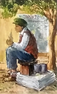 "andre-de-beer--""sitting-newspaper-seller"""