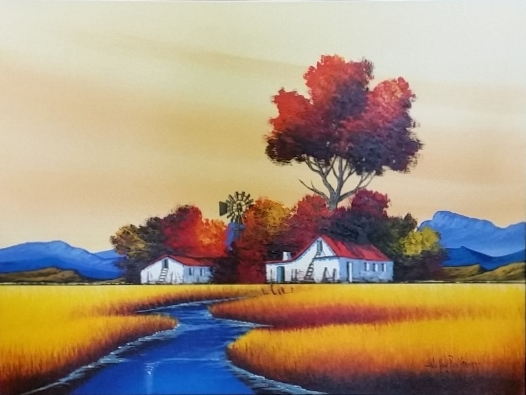 nic-van-rensburg--landscape-with-windmill